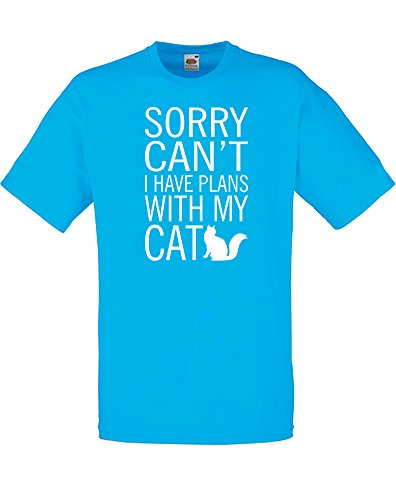 Sorry Can't I Have Plans With My Cat, T-Shirt Stampata Da Uomo - Azzurro/Blanco 2XL = 119-124cm