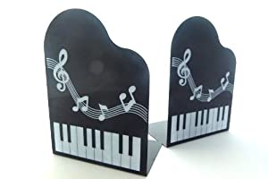 Funmusic Bookend Grand Piano Shape With Musical Note Book Stand Pair Toys Games