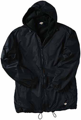 Dickies Big Men's Hooded Nylon Jacket Fleece Lined 3XL Black