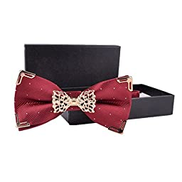 Hello Tie Solid Silver Dot Gold Edge Luxurious Pre-tied Bow Ties Wine Red