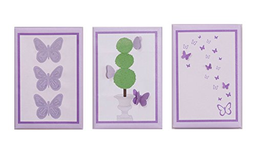 Papillon Canvas Wall Art - Set of 3 - 1