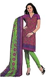 Araham Pink Printed 100% Cotton Unstitched Salwar Suit Dress Material