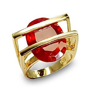 Isady - Saran - Ladies Ring - 925 Sterling silver 9.8gr et 14ct Yellow Gold Plated - Cubic Zirconia Red