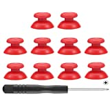 Mekela 5 Pairs Thumbsticks with Cross Screwdriver, Replacement Joystick Thumb Stick for PlayStation 4 PS4 Controller Gamepad (Red) (Color: Red)
