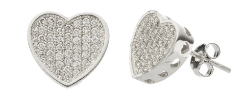 925 Sterling Silver 3D Heart Micro Pave Cubic Zirconia Stud Earrings