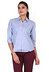 Valeta's Blue Colored 3/4th Sleeves Formal Shirts For Women-XXL