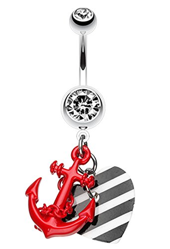 Vibrant Anchor Nautical Heart Belly Button Ring - 14 GA (1.6mm) - Red - Sold Individually