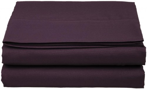 Clara Clark ® Supreme 1500 Collection Single Flat Sheet - King Size, Purple Eggplant front-351300