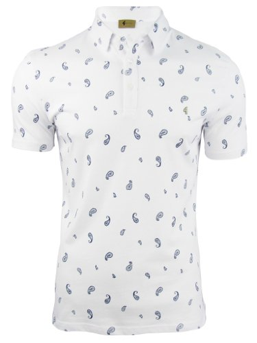 Mens Gabicci 'Niven' Polo Shirt Paisley Print Short Sleeved - White