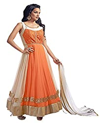 Sitaram womans georgette orange and cream colour anarkali gown style semistiched material with dupatta.