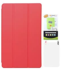 DMG Premium Tri Fold Translucent Back Flip Cover For Apple iPad Air (Red) with 6600 mAh PowerBank and Matte Screen