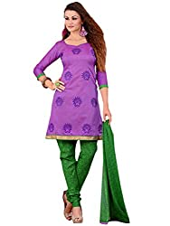 Inddus Women Purple Colored Embroidered Dress material