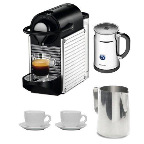 Nespresso C60 Pixie Espresso Maker w/ Aeroccino Plus (Chrome) + Nifty 40 Capsule Coffee Carousel + Accessory Kit