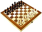 "Folding 12"" Inlaid Wood chess set with storage"