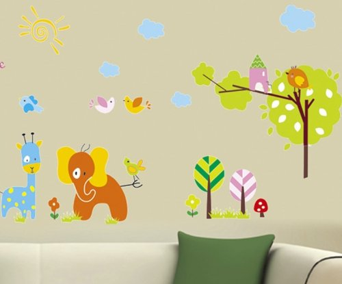 Cute Animal Self-Adhesive Reusable Decoration Wall Sticker Home Decor front-246011