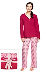 Henley Neck Dobby Heart & Checked Pyjamas
