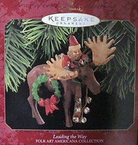 Hallmark Keepsake Leading The Way 1997 Folk Art Americana Collection Moose Christmas Ornament