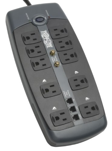 Tripp Lite 10 Outlet Surge Protector Power Strip Tel/Modem/Coax 8ft Cord (TLP1008TELTV)