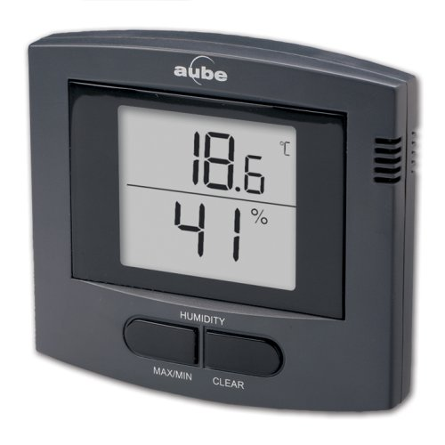 Aube by Honeywell TE513-7/U Electronic Indoor Thermometer and Humidistat, Charcoal