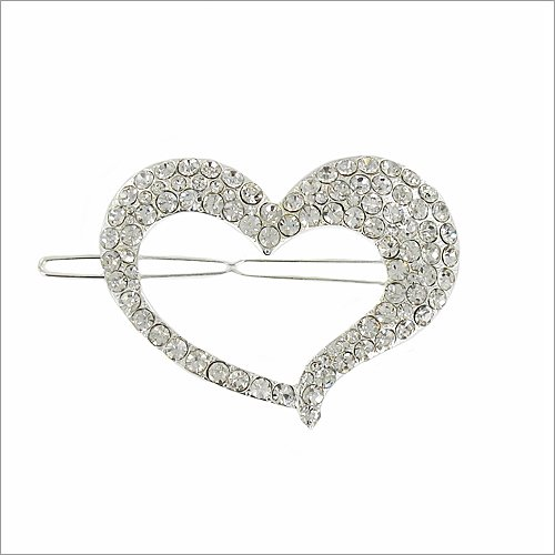 Heart W Crystal Stone Accent Hair Pin #035617