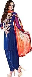 Haya Creations Women's Georgette Dress Material (1002, Blue)