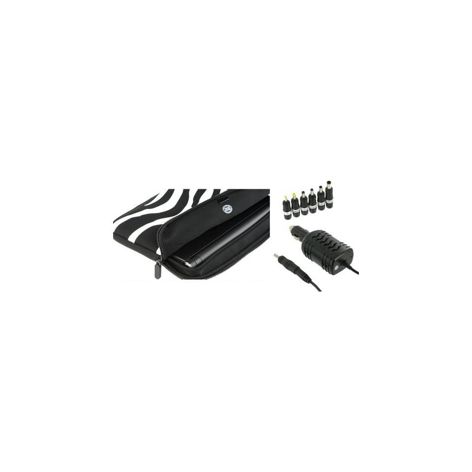 PCMS 2n1 Combo   Samsung N120 12GW 10.1 Inch Netbook Neoprene Sleeve Case with 12v Car Charger   Zebra Black / White