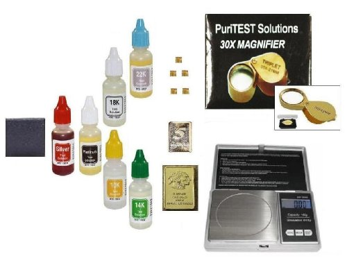 Scrap Jewelry Testing Kit with Jewlery Scale, Acid Test Kit, Gold and Silver Bullion Bars and More!