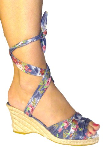Womens/Ladies/Girls Floral Blue Espadrille Wedge