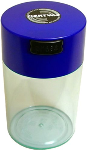 Tightvac 6-Ounce Vacuum Sealed Dry Goods Storage Container, Clear Body/Dk. Blue Cap