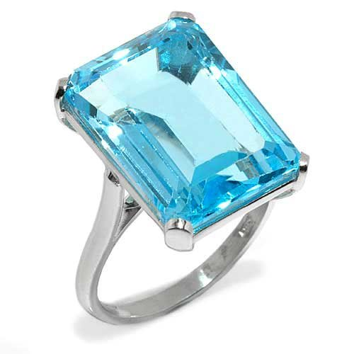 Gioie Ladies' Ring in White 18-karat Gold with Blue Topaz, form Rectangle, weight 7.8 grams, size K