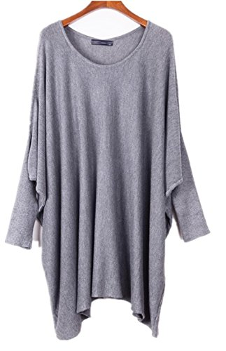 Women's Plus Size Casual Loose Long Sleeve Knit Sweater Batwing Blouse (Grey)