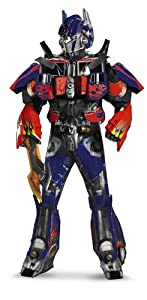 Disguise Men's Hasbro Transformers Age Of Extinction Movie Optimus Prime Theatrical with Vacuform Plus 3D, Blue/Red, X-Large/42-46