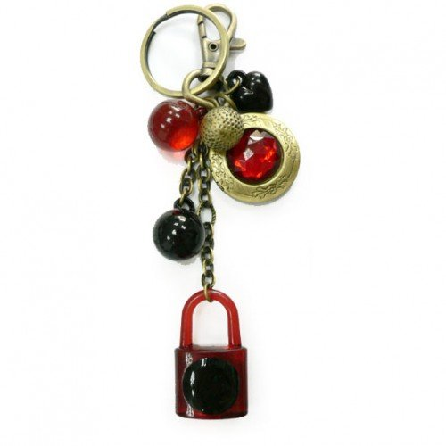 SG PARIS KEY RING B.Brass BLK+RED COMB X6PCES RG FONC/BORD/VIN/GAR OTHER FASHION ACCESSORIES KEY CHAIN PLASTIC WINTER WOMEN NIGHT BIRD FASHION JEWELRY / HAIR ACCESSORIES KEY / PADLOCKS