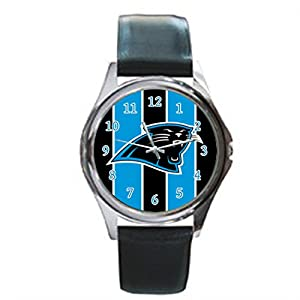 Time Walker Men's Easy to Read NFL Carolina Panthers Display Analogue Black Dial Analog Quartz Watch