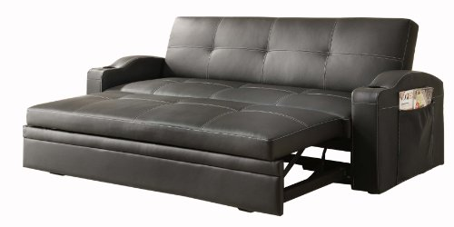 Homelegance 4803Blk Convertible/Adjustable Sofa Bed, Black Bi-Cast Vinyl front-1027975
