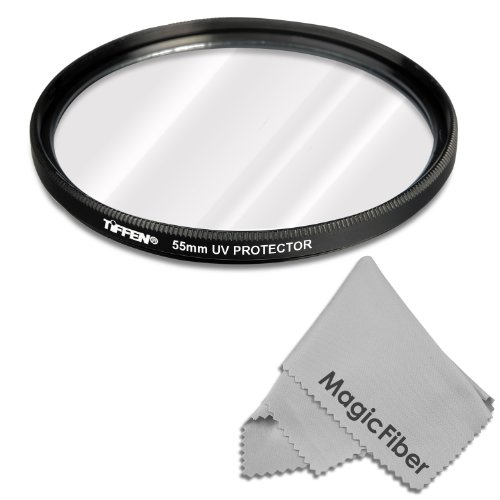Tiffen 55Mm Uv Protection Filter For Sony Alpha Series A99 A77 A65 A58 A57 A55 A390 A100 Dslr Cameras + Magicfiber Microfiber Lens Cleaning Cloth