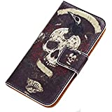Flip Protective Leather With Stand Card holder Function Black Skull Phone Case cover for Iphone 5 5S