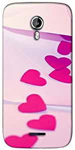 Snoogg Pink heart Designer Protective Back Case Cover For Micromax A117