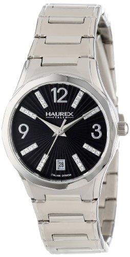 Haurex Italy Women's 2A389DN1 Iris Round Stainless Steel Black Sunray Dial Swarovski Date Watch