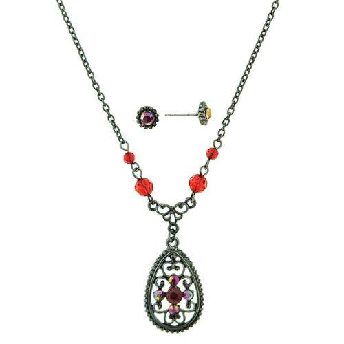 Ruby Hues Filigree Teardrop Necklace & Earrings Set