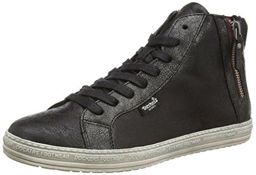 Dockers by Gerli 32LN213, Sneaker alta donna, Nero (Schwarz (schwarz/silber 155)), 41