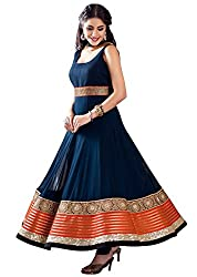 Clickedia Women's Faux Georgette Anarkali Salwar Suit Dress Material (Navy Blue_Free Size)