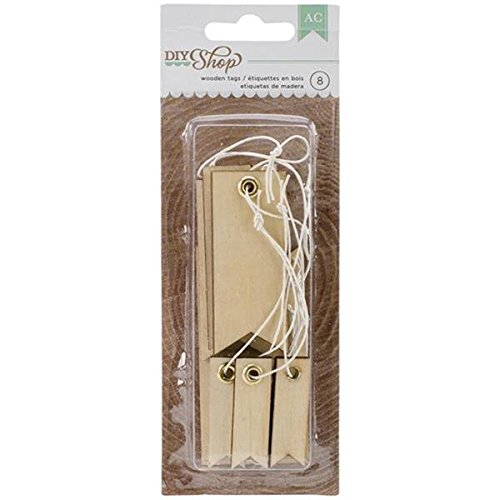 American Crafts 8-Piece DIY Shop Narrow Wooden Tags