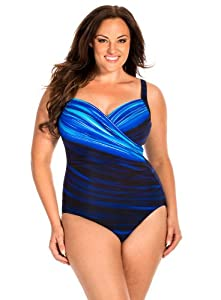 Miraclesuit Women's Plus Size Life Lines One Piece Surplice Swimsuit Blue 20W