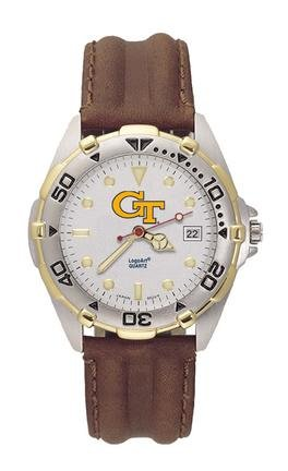 Georgia Tech Yellow Jackets GT All Star Watch with Leather Band - Mens by Logo Art