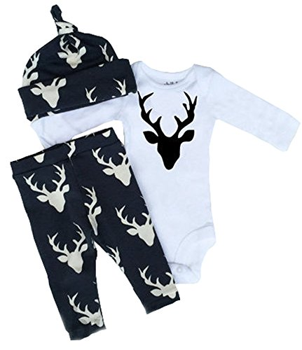 Newborn Infant Baby Girls Boy Deer Tops Bodysuit Long Pants Hat 3pcs Outfits Set