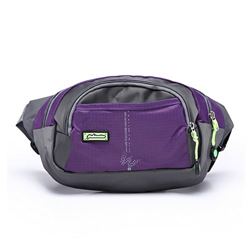 OrrinSports 3-Zipper Nylon Water Resistant Outdoor Sports Fanny Pack for Hiking,Walking,Camping,Fishing Purple