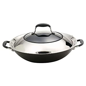 Anolon Advanced Hard Anodized Nonstick 14-Inch Covered Wok with Combo Stainless Steel... by Anolon