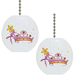 Set of 2 Crown Magic Wand Fairytale Solid CERAMIC Fan Pulls