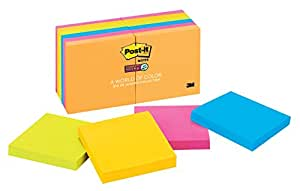 Post-it Super Sticky Notes, 3 in x 3 in, Rio de Janeiro Collection, 12 Pads/Pack, 90 Sheets/Pad (654-12SSUC)